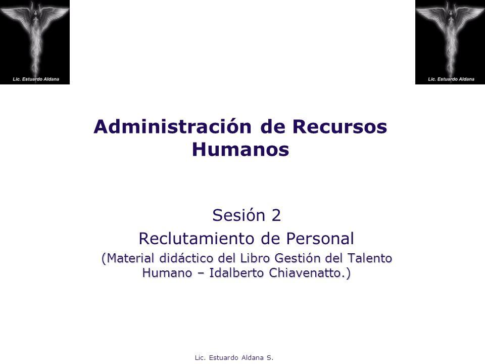 Lic. Estuardo Aldana S. Administración de Recursos Humanos Sesión 2 Reclutamiento de Personal (Material didáctico del Libro Gestión del Talento Humano