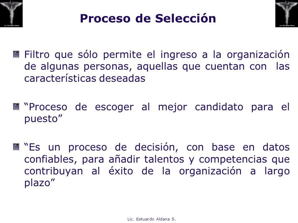 Filtro que sólo permite el ingreso a la organización de algunas personas, aquellas que cuentan con las características deseadas Proceso de escoger al