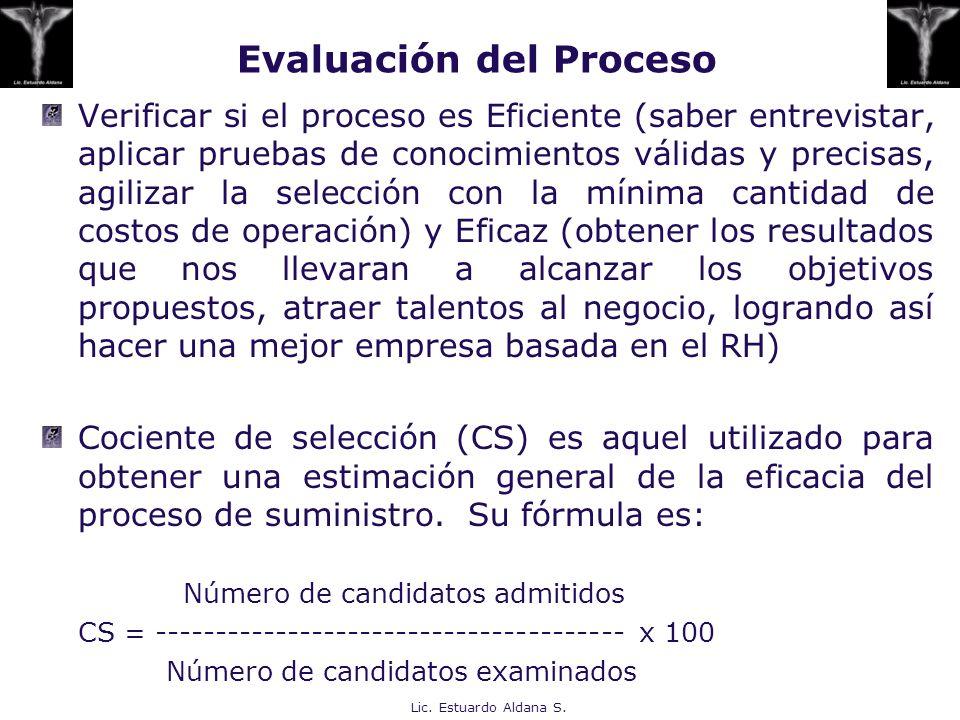 Verificar si el proceso es Eficiente (saber entrevistar, aplicar pruebas de conocimientos válidas y precisas, agilizar la selección con la mínima cant