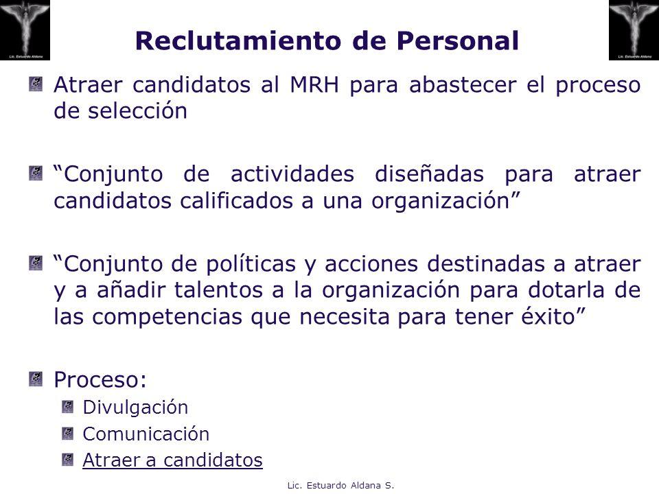 Atraer candidatos al MRH para abastecer el proceso de selección Conjunto de actividades diseñadas para atraer candidatos calificados a una organizació