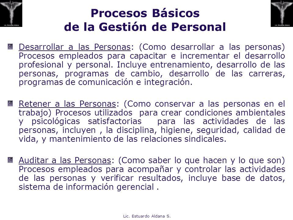 Procesos Básicos de la Gestión de Personal Desarrollar a las Personas: (Como desarrollar a las personas) Procesos empleados para capacitar e increment