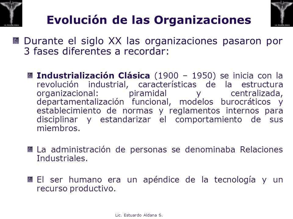 Evolución de las Organizaciones Durante el siglo XX las organizaciones pasaron por 3 fases diferentes a recordar: Industrialización Clásica (1900 – 19
