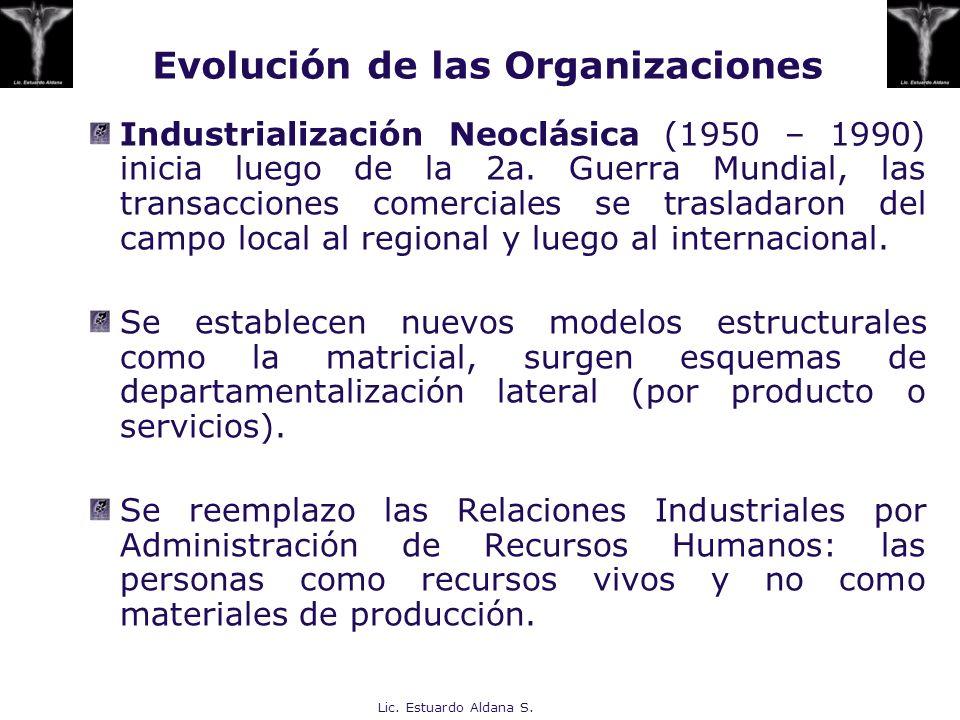 Lic. Estuardo Aldana S. Evolución de las Organizaciones Industrialización Neoclásica (1950 – 1990) inicia luego de la 2a. Guerra Mundial, las transacc