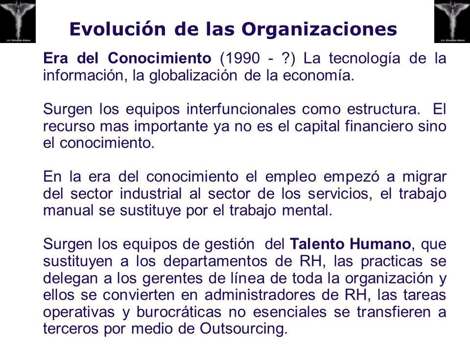 Evolución de las Organizaciones Era del Conocimiento (1990 - ?) La tecnología de la información, la globalización de la economía. Surgen los equipos i