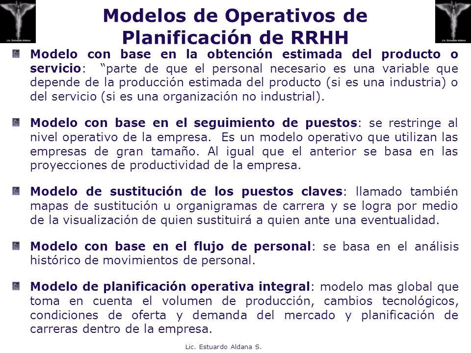 Modelos de Operativos de Planificación de RRHH Modelo con base en la obtención estimada del producto o servicio: parte de que el personal necesario es