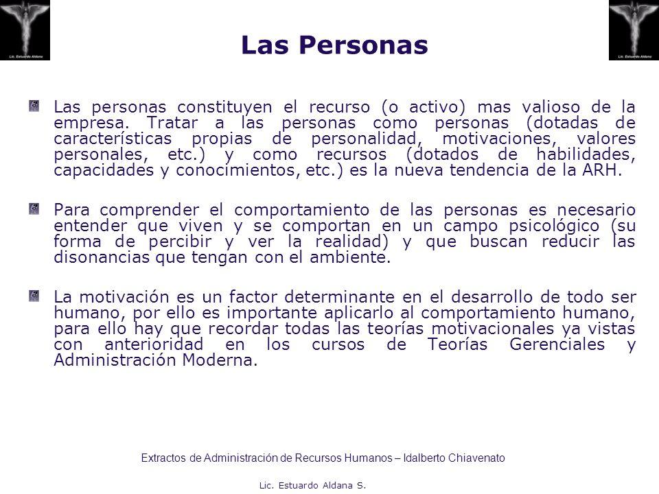 Lic. Estuardo Aldana S. Las Personas Las personas constituyen el recurso (o activo) mas valioso de la empresa. Tratar a las personas como personas (do