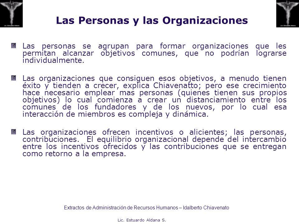 Lic. Estuardo Aldana S. Las Personas y las Organizaciones Las personas se agrupan para formar organizaciones que les permitan alcanzar objetivos comun