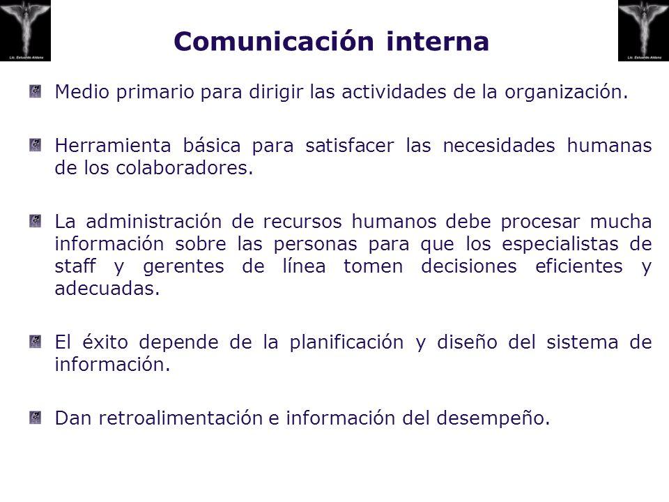 Comunicación interna Medio primario para dirigir las actividades de la organización. Herramienta básica para satisfacer las necesidades humanas de los