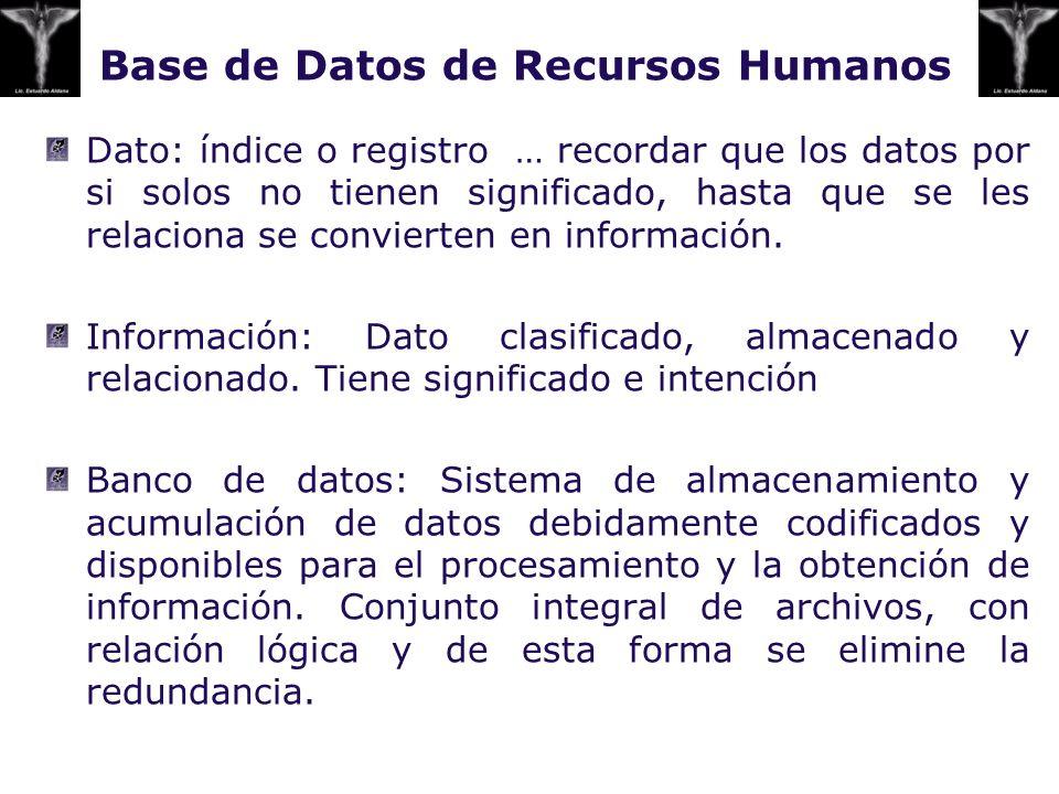 Base de Datos de Recursos Humanos Dato: índice o registro … recordar que los datos por si solos no tienen significado, hasta que se les relaciona se c