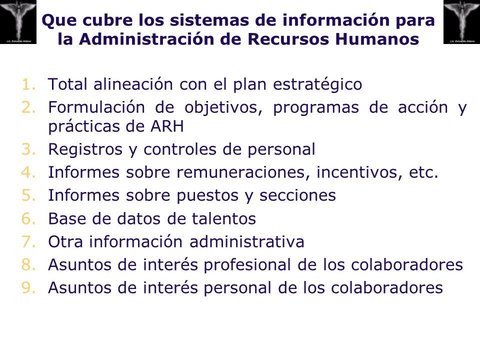 Que cubre los sistemas de información para la Administración de Recursos Humanos 1.Total alineación con el plan estratégico 2.Formulación de objetivos