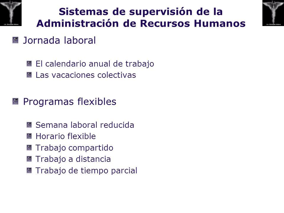 Sistemas de supervisión de la Administración de Recursos Humanos Jornada laboral El calendario anual de trabajo Las vacaciones colectivas Programas fl