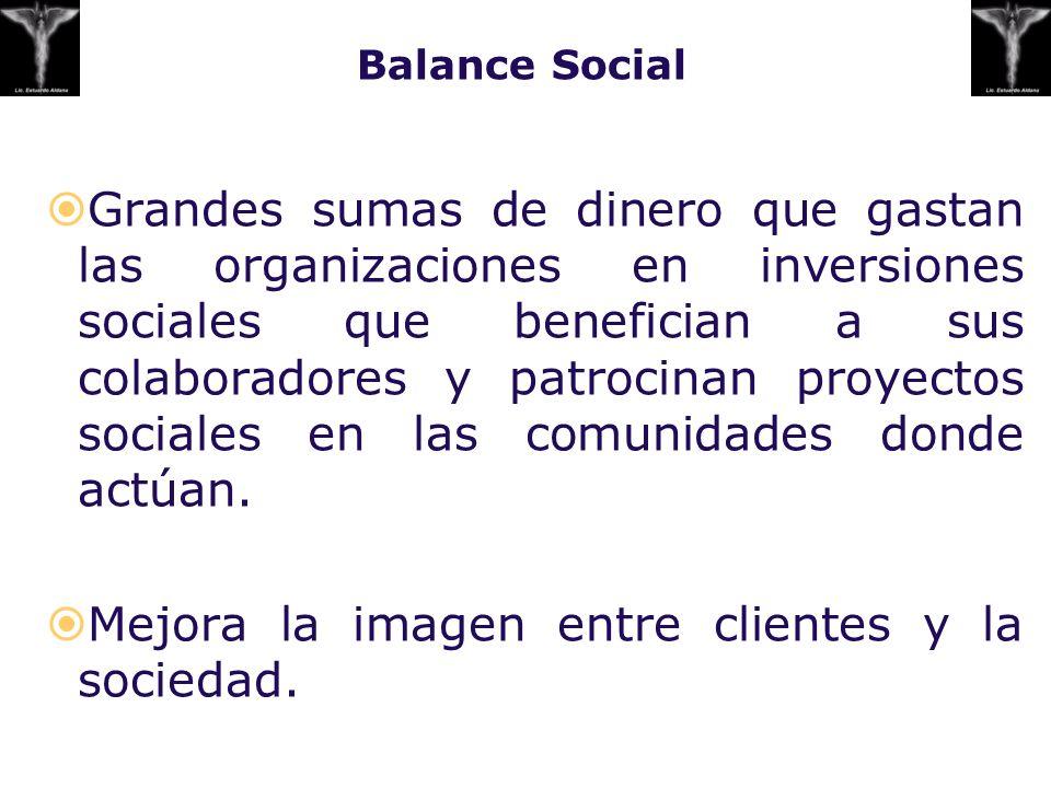 Balance Social Grandes sumas de dinero que gastan las organizaciones en inversiones sociales que benefician a sus colaboradores y patrocinan proyectos