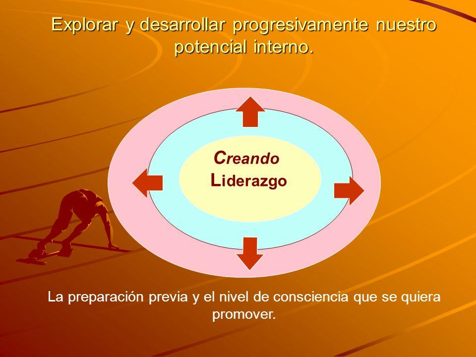 Explorar y desarrollar progresivamente nuestro potencial interno. C reando L iderazgo La preparación previa y el nivel de consciencia que se quiera pr