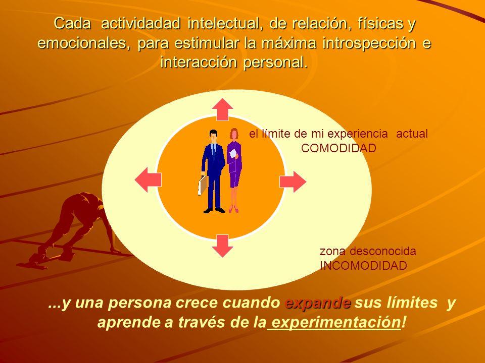 Cada actividadad intelectual, de relación, físicas y emocionales, para estimular la máxima introspección e interacción personal. expande...y una perso