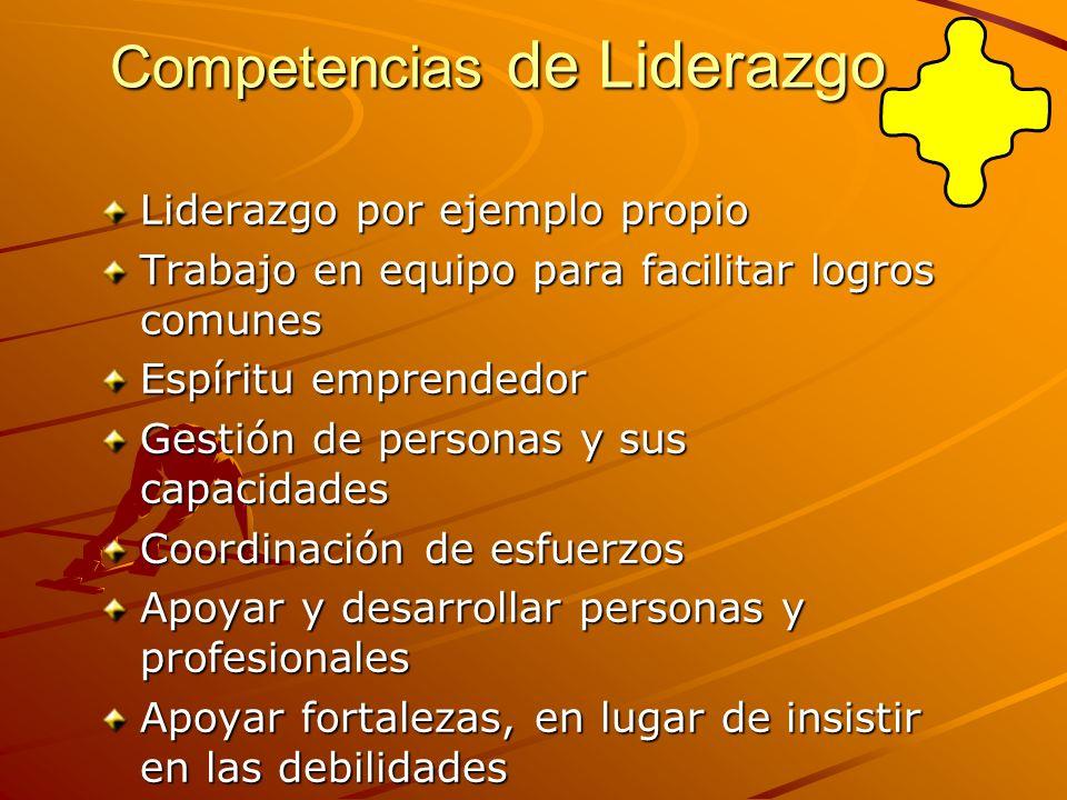 Competencias de Liderazgo Liderazgo por ejemplo propio Trabajo en equipo para facilitar logros comunes Espíritu emprendedor Gestión de personas y sus