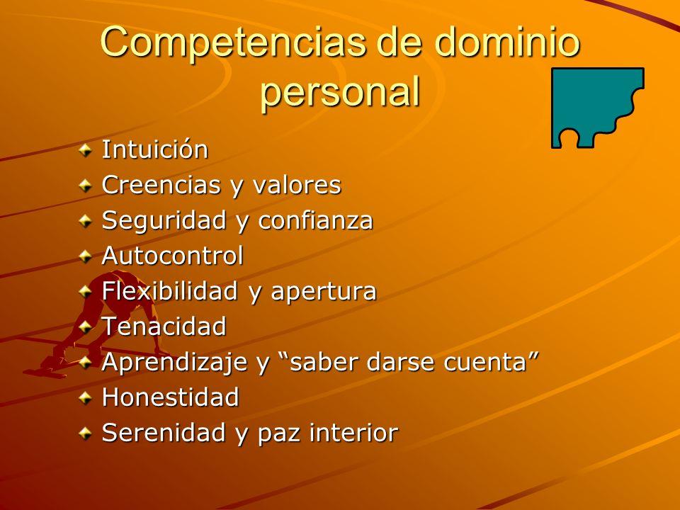 Competencias de dominio personal Intuición Creencias y valores Seguridad y confianza Autocontrol Flexibilidad y apertura Tenacidad Aprendizaje y saber