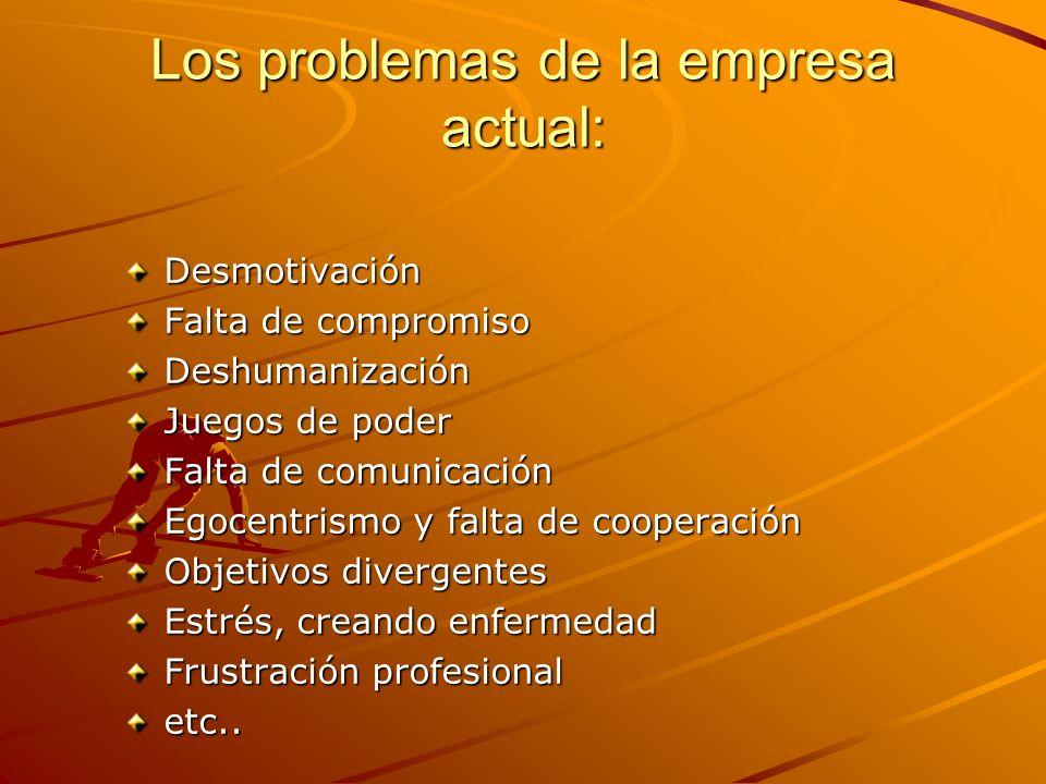 Los problemas de la empresa actual: Desmotivación Falta de compromiso Deshumanización Juegos de poder Falta de comunicación Egocentrismo y falta de co