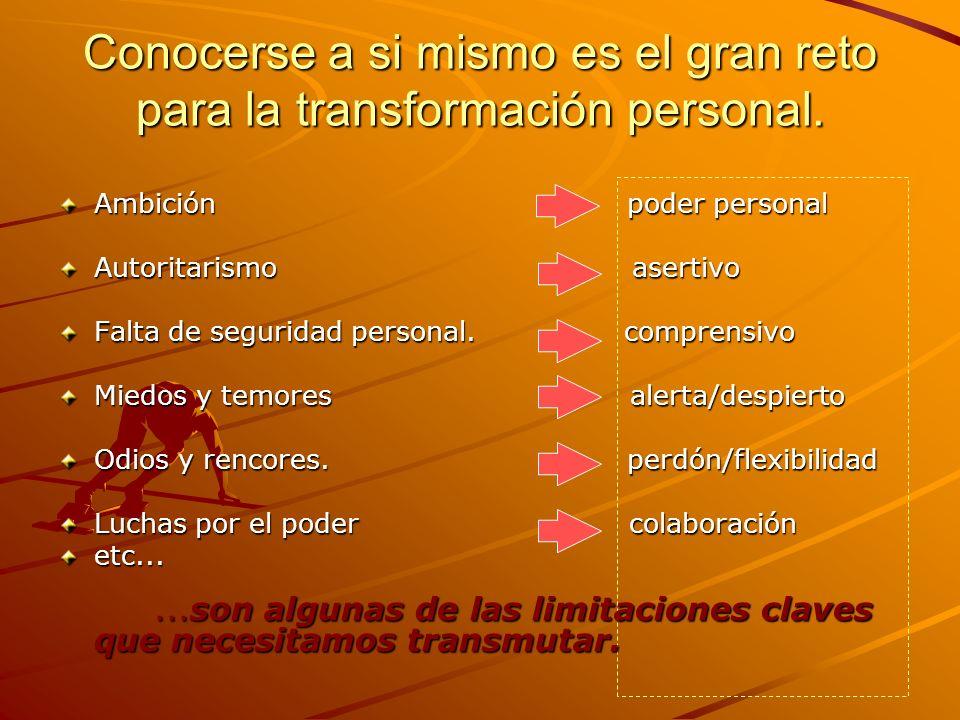 Conocerse a si mismo es el gran reto para la transformación personal. Ambición poder personal Autoritarismo asertivo Falta de seguridad personal. comp