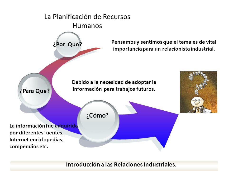 www.themegallery.com ¿Para Que? ¿Por Que? Introducción a las Relaciones Industriales. ¿Cómo? La Planificación de Recursos Humanos Pensamos y sentimos