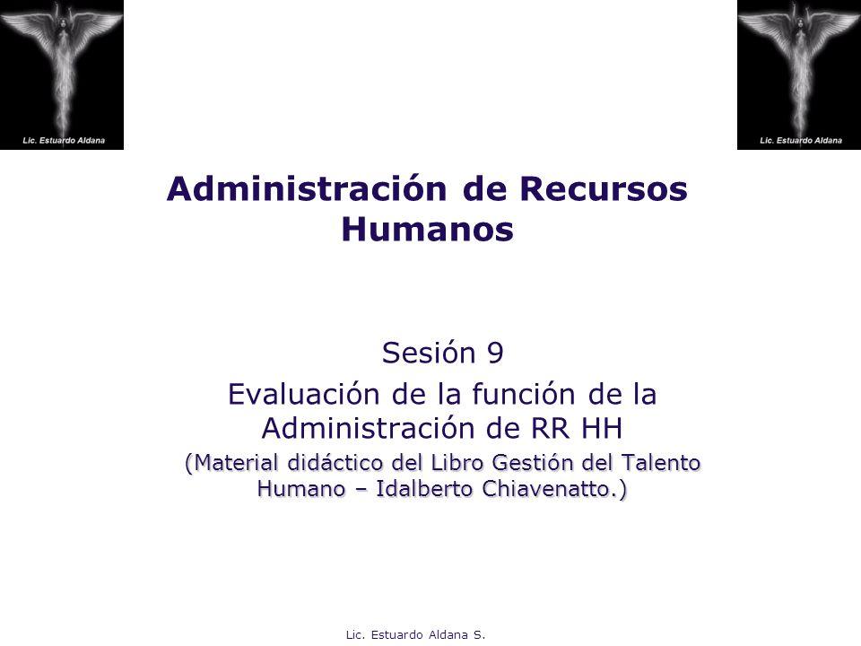 Administración de Recursos Humanos Sesión 9 Evaluación de la función de la Administración de RR HH (Material didáctico del Libro Gestión del Talento H