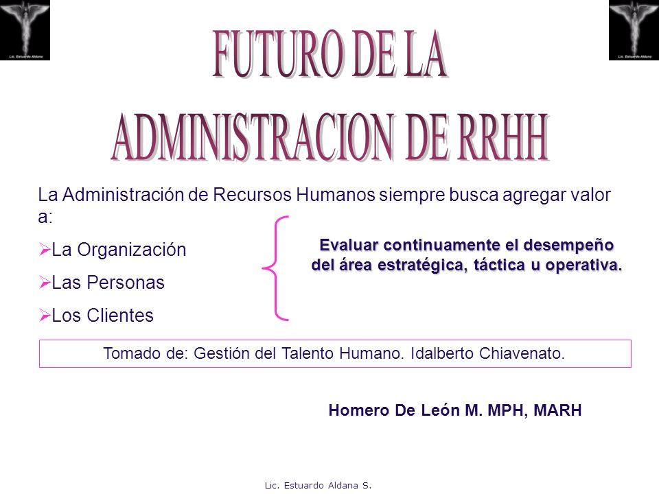 La Administración de Recursos Humanos siempre busca agregar valor a: La Organización Las Personas Los Clientes Evaluar continuamente el desempeño del