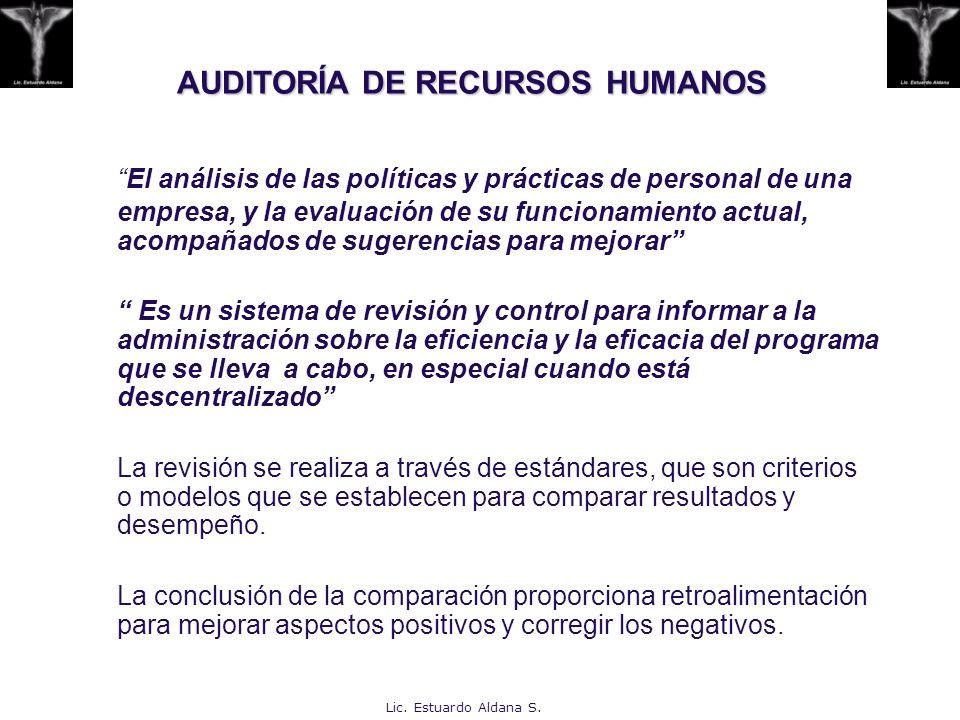 AUDITORÍA DE RECURSOS HUMANOS El análisis de las políticas y prácticas de personal de una empresa, y la evaluación de su funcionamiento actual, acompa