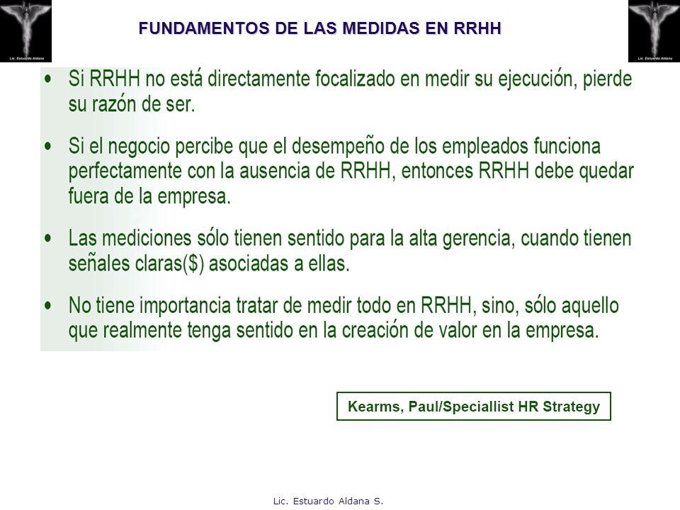 FUNDAMENTOS DE LAS MEDIDAS EN RRHH Lic. Estuardo Aldana S.