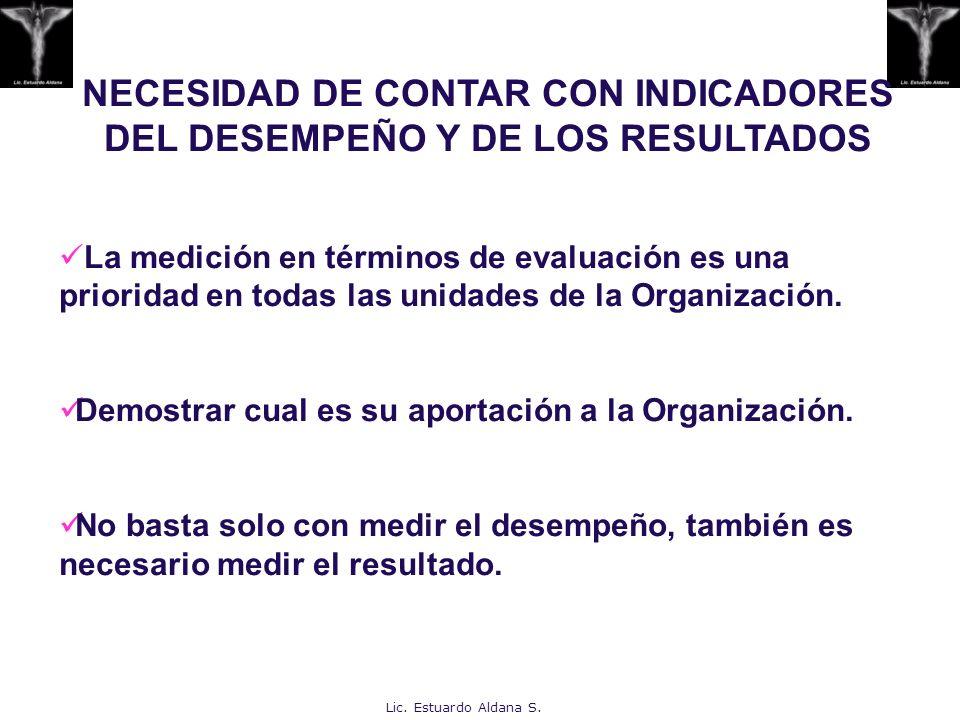 NECESIDAD DE CONTAR CON INDICADORES DEL DESEMPEÑO Y DE LOS RESULTADOS La medición en términos de evaluación es una prioridad en todas las unidades de