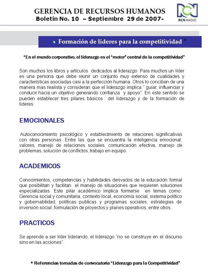 GERENCIA DE RECURSOS HUMANOS Boletín No. 10 – Septiembre 29 de 2007- Formación de lideres para la competitividad * Son muchos los libros y artículos d
