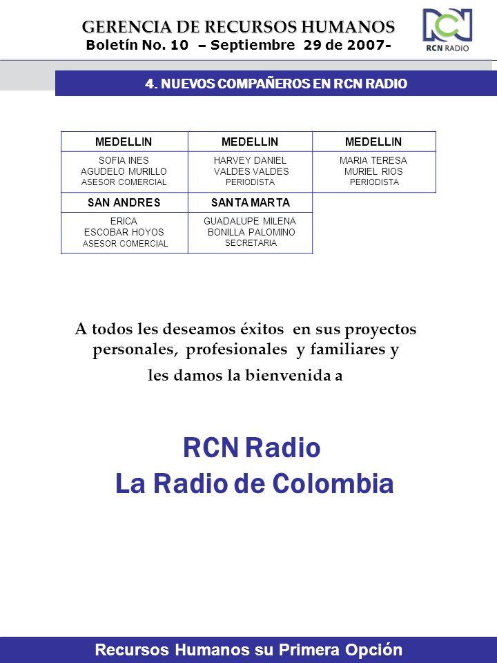 GERENCIA DE RECURSOS HUMANOS Boletín No. 10 – Septiembre 29 de 2007- MEDELLIN SOFIA INES AGUDELO MURILLO ASESOR COMERCIAL HARVEY DANIEL VALDES VALDES