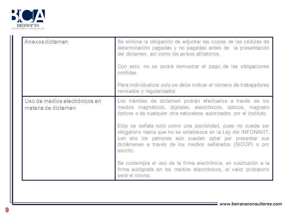 www.beiranaconsultores.com 9 Los trámites de dictamen podrán efectuarse a través de los medios magnéticos, digitales, electrónicos, ópticos, magneto ó