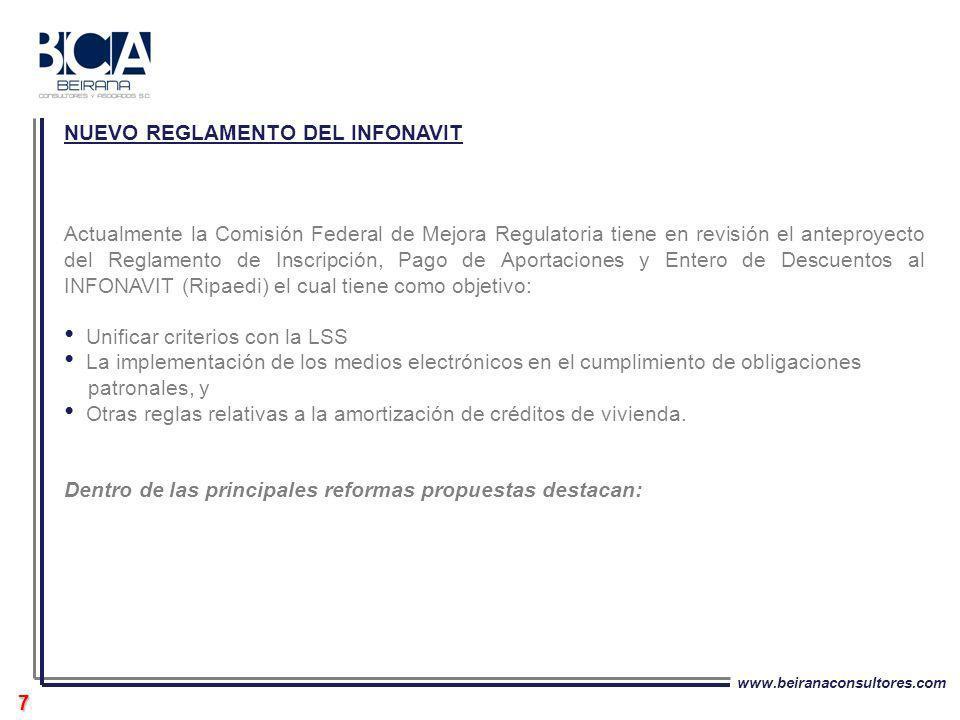 www.beiranaconsultores.com 7 Actualmente la Comisión Federal de Mejora Regulatoria tiene en revisión el anteproyecto del Reglamento de Inscripción, Pa
