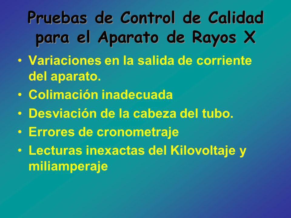 Pruebas de Control de Calidad para el Aparato de Rayos X Variaciones en la salida de corriente del aparato. Colimación inadecuada Desviación de la cab