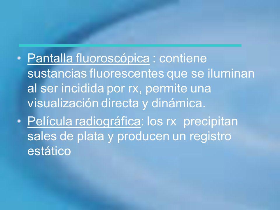 Pantalla fluoroscópica : contiene sustancias fluorescentes que se iluminan al ser incidida por rx, permite una visualización directa y dinámica. Pelíc