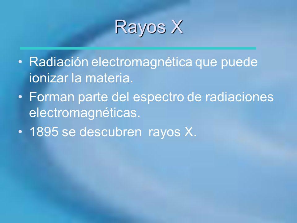 Rayos X Radiación electromagnética que puede ionizar la materia. Forman parte del espectro de radiaciones electromagnéticas. 1895 se descubren rayos X