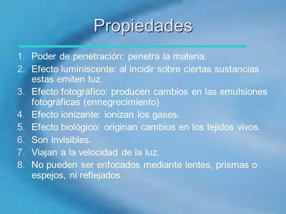 Propiedades 1.Poder de penetración: penetra la materia. 2.Efecto luminiscente: al incidir sobre ciertas sustancias estas emiten luz. 3.Efecto fotográf