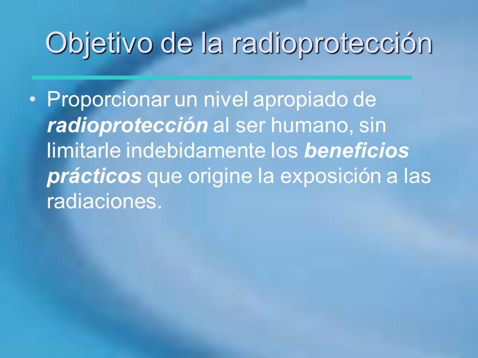 Objetivo de la radioprotección Proporcionar un nivel apropiado de radioprotección al ser humano, sin limitarle indebidamente los beneficios prácticos