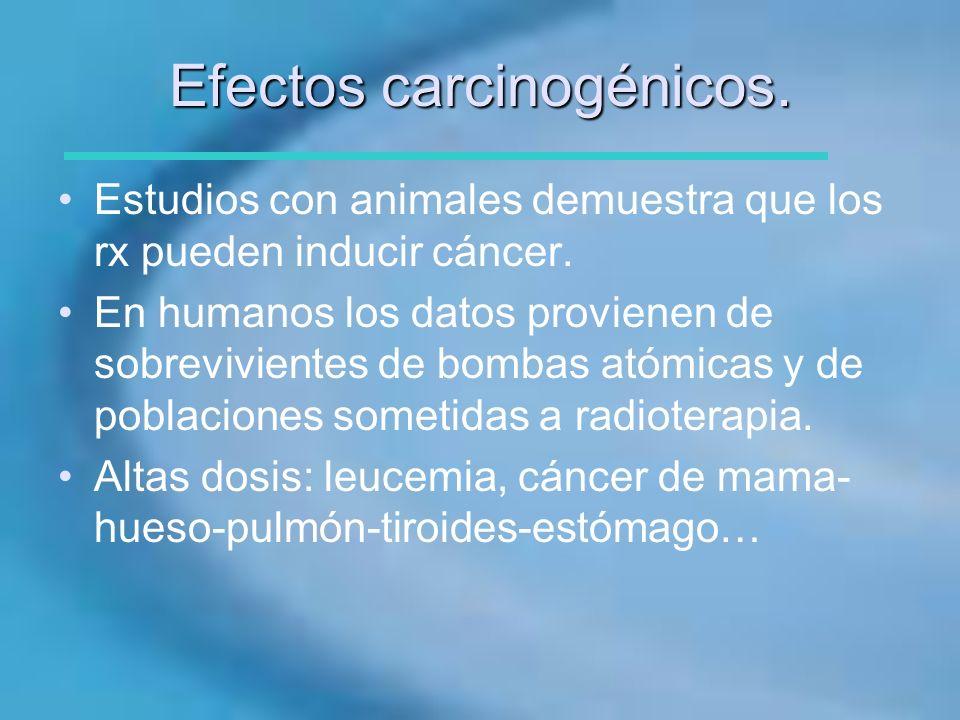 Efectos carcinogénicos. Estudios con animales demuestra que los rx pueden inducir cáncer. En humanos los datos provienen de sobrevivientes de bombas a