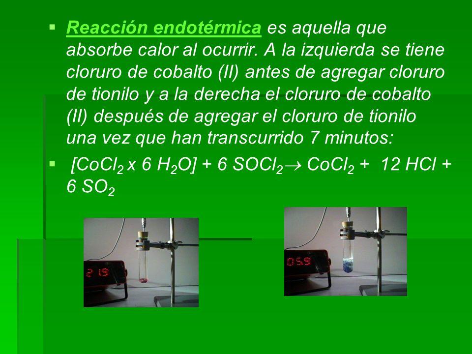 Reacción endotérmica es aquella que absorbe calor al ocurrir. A la izquierda se tiene cloruro de cobalto (II) antes de agregar cloruro de tionilo y a