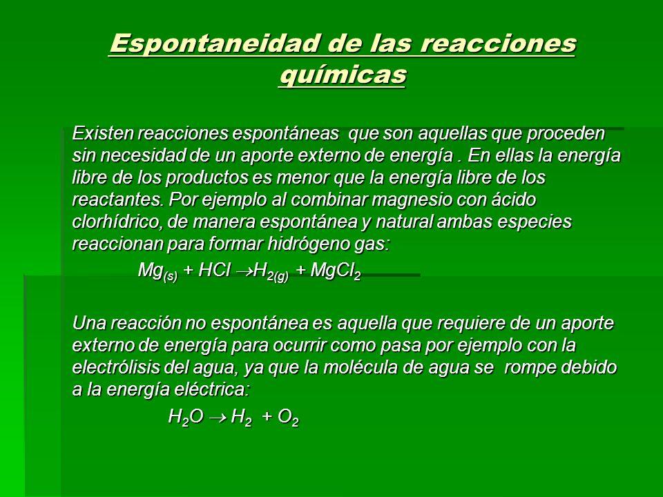 Espontaneidad de las reacciones químicas Existen reacciones espontáneas que son aquellas que proceden sin necesidad de un aporte externo de energía. E