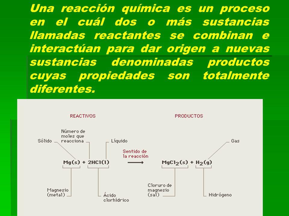 Una reacción química es un proceso en el cuál dos o más sustancias llamadas reactantes se combinan e interactúan para dar origen a nuevas sustancias d