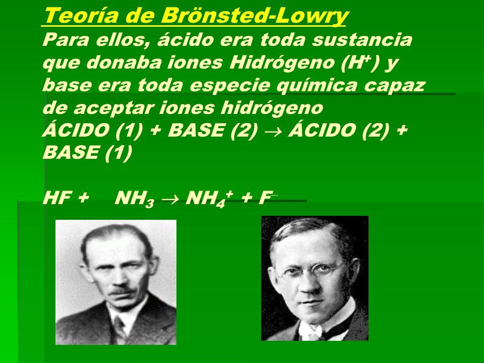 Teoría de Brönsted-Lowry Para ellos, ácido era toda sustancia que donaba iones Hidrógeno (H + ) y base era toda especie química capaz de aceptar iones