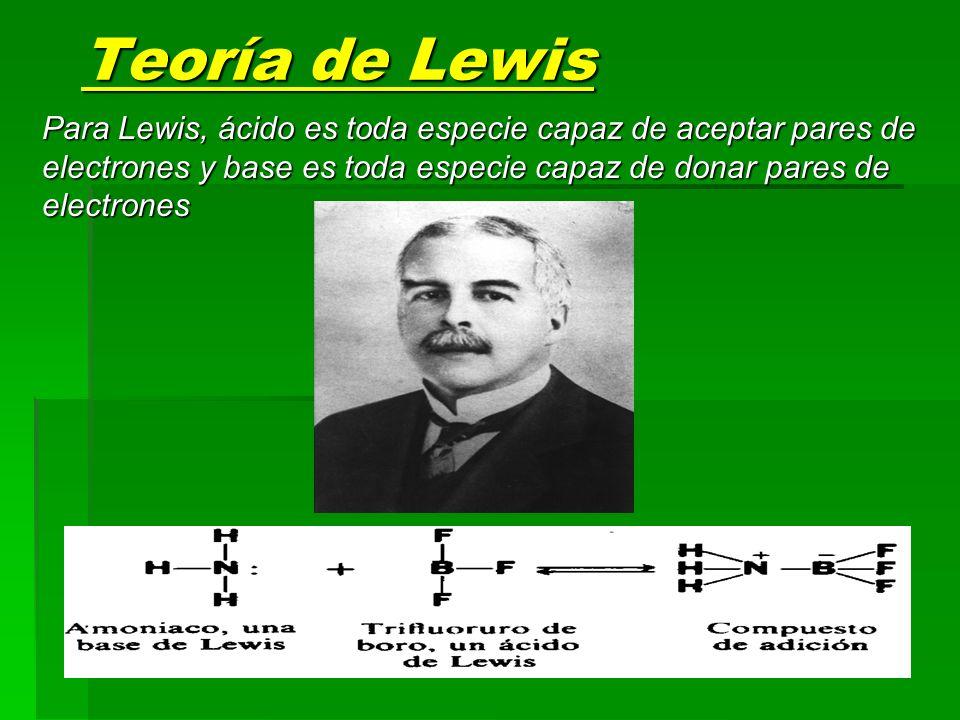 Teoría de Lewis Para Lewis, ácido es toda especie capaz de aceptar pares de electrones y base es toda especie capaz de donar pares de electrones