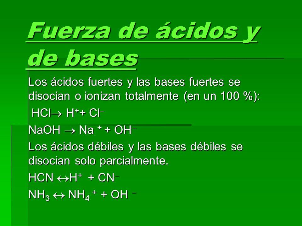 Fuerza de ácidos y de bases Los ácidos fuertes y las bases fuertes se disocian o ionizan totalmente (en un 100 %): HCl H + + Cl HCl H + + Cl NaOH Na +