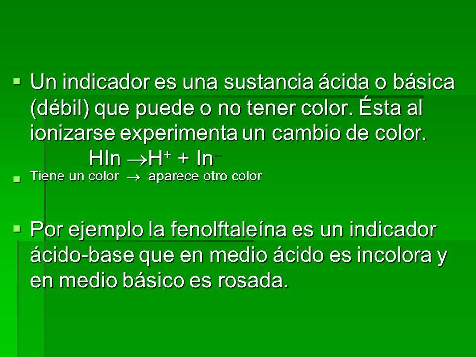 Un indicador es una sustancia ácida o básica (débil) que puede o no tener color. Ésta al ionizarse experimenta un cambio de color. HIn H + + In Un ind