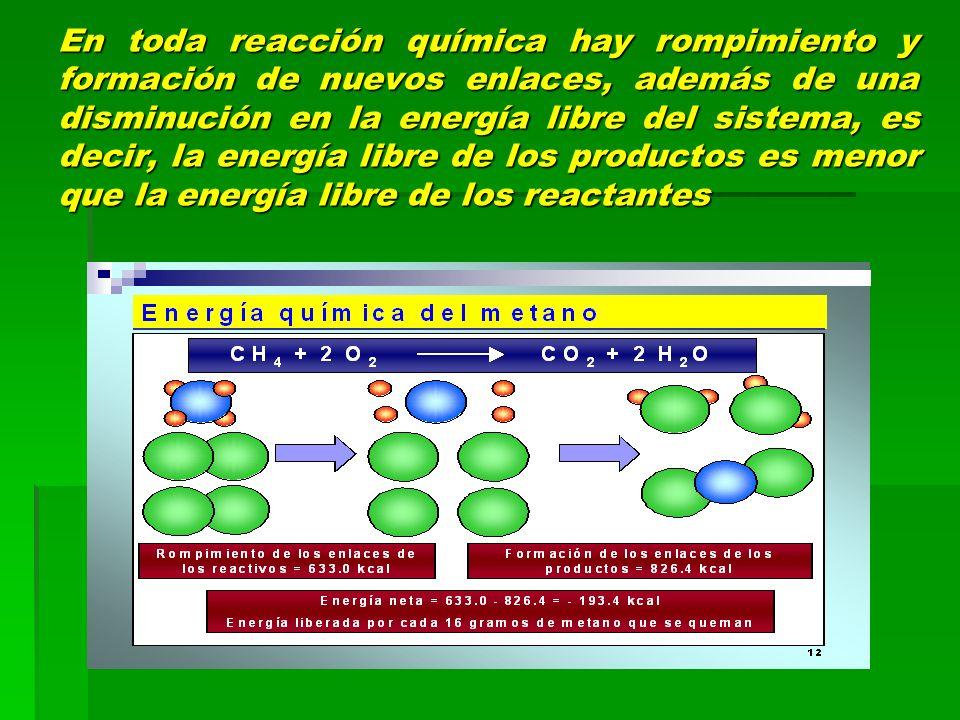 En toda reacción química hay rompimiento y formación de nuevos enlaces, además de una disminución en la energía libre del sistema, es decir, la energí