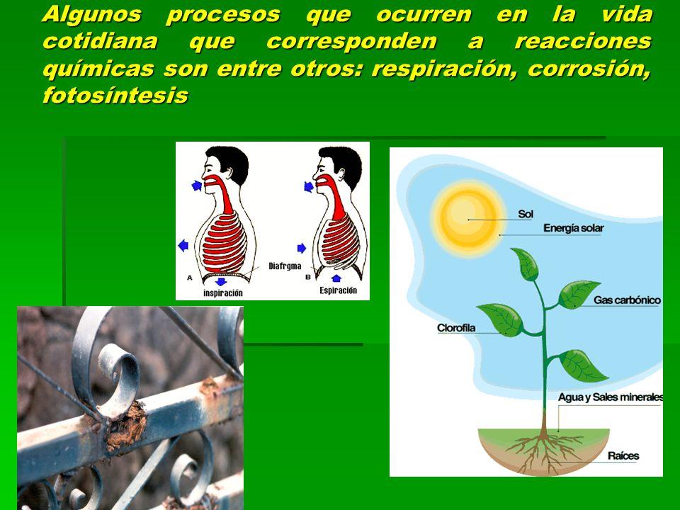 Algunos procesos que ocurren en la vida cotidiana que corresponden a reacciones químicas son entre otros: respiración, corrosión, fotosíntesis
