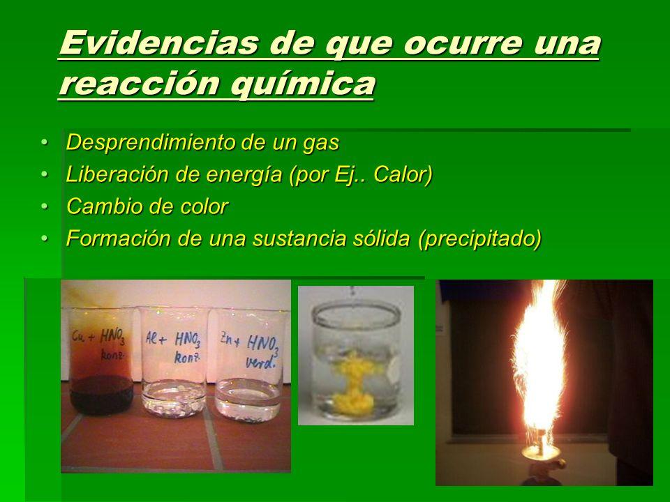 Evidencias de que ocurre una reacción química Desprendimiento de un gasDesprendimiento de un gas Liberación de energía (por Ej.. Calor)Liberación de e