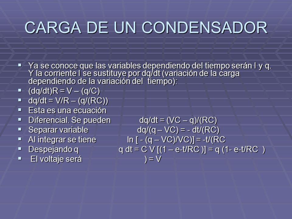 CARGA DE UN CONDENSADOR Ya se conoce que las variables dependiendo del tiempo serán I y q. Y la corriente I se sustituye por dq/dt (variación de la ca