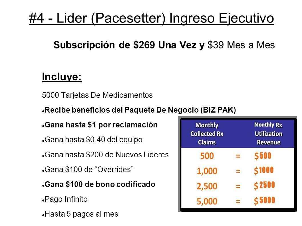 #4 - Lider (Pacesetter) Ingreso Ejecutivo Subscripción de $269 Una Vez y $39 Mes a Mes Incluye: 5000 Tarjetas De Medicamentos Recibe beneficios del Pa